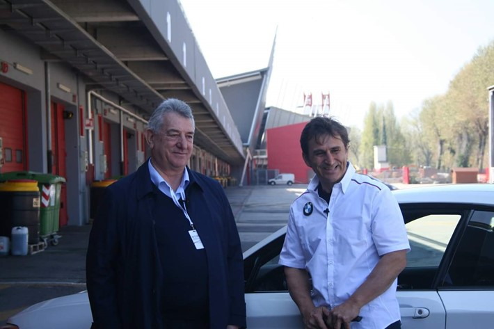 Fadiel Italiana takes part in the BMW Driving Experience an event for disabled driving with Zanardi